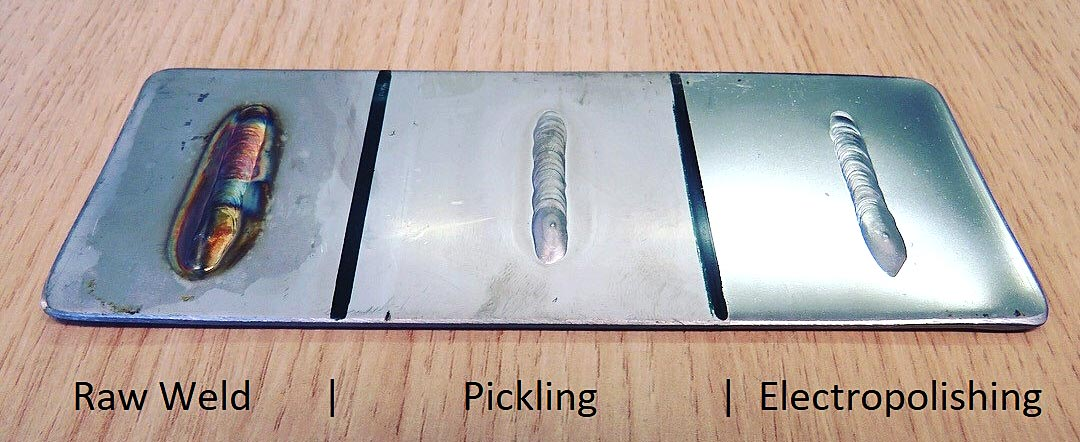 Comparing raw weld, pickling and electropolishing of stainless steel